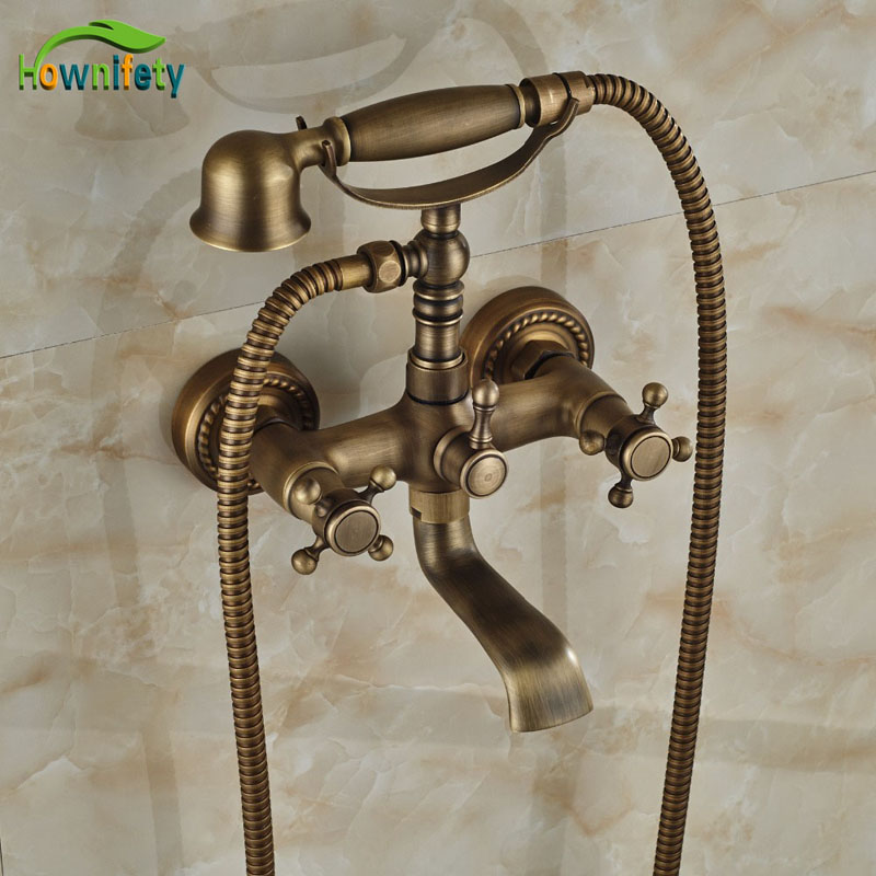 Newly Wall Mounted Antique Brass Tub Faucet Bathroom Double Handles Tel Shape Faucet baskonia maccabi tel aviv