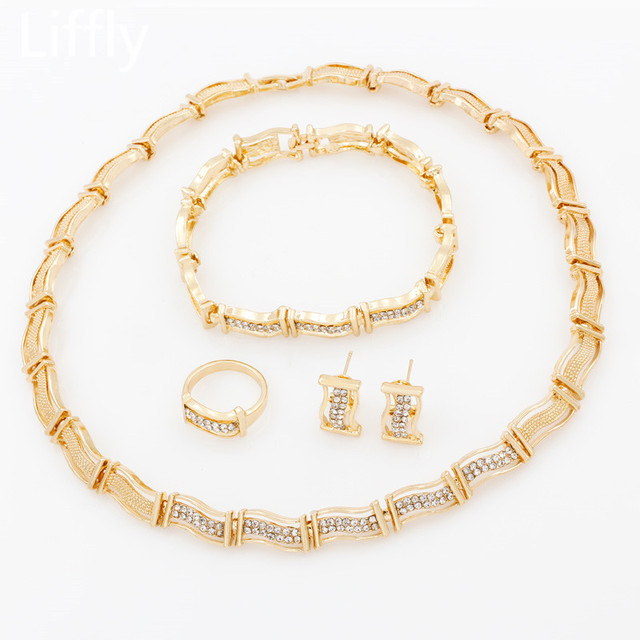 Simple Design Fashion Women 18 Gold Jewelry Sets Crystal Necklace