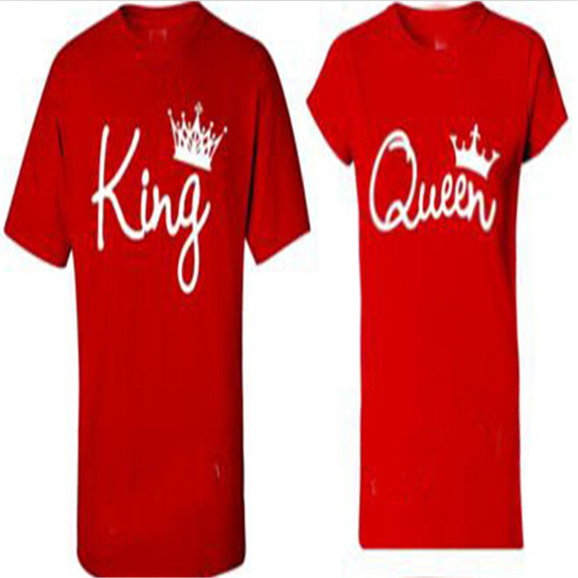 615ec040c1d US $8.41 10% OFF|King Queen Shirt Crown T Shirt Men Women Married/Together  COUPLE Matching T Shirt Casual Letter Print Tshirt Tees T F11184-in ...