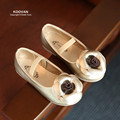 Koovan Crianças Flats 2017 Nova Primavera Meninas Camellia Princesa Sapatos Da Moda Sapatos de Couro Calçado de Dança das Crianças Do Bebê Flores Plana