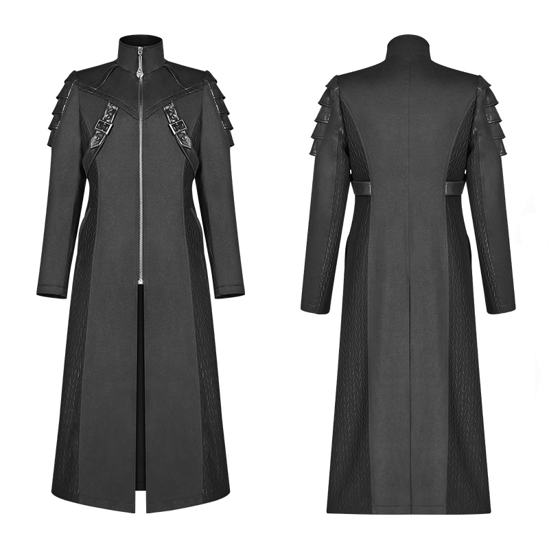 Image 4 - PUNK RAVE Gothic Men's Black Armor Mid length Jackets Coat Steampunk Military Men Coat Stage Performance Costumes Visual Kei-in Jackets from Men's Clothing