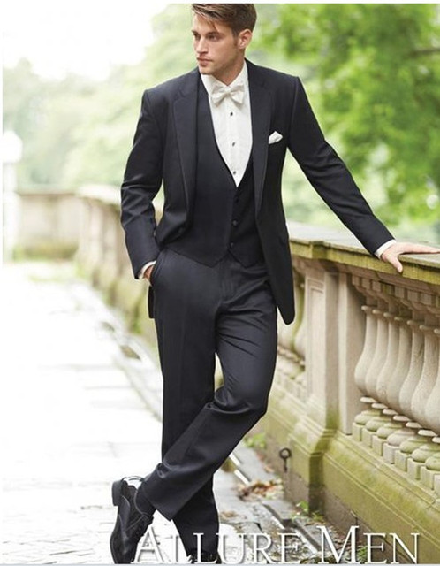 Tuxedo Suits High Quality Groom Wear Black 3 Piece Suit Tailor Men Wedding Free