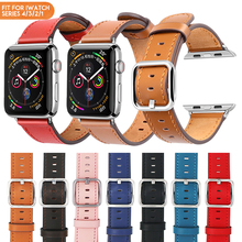 Laforuta Genuine Leather Band for Apple Watch Series 4 3 2 1 Strap iWatch Band with Classic Buckle 44mm 40mm 38mm 42mm Watchband