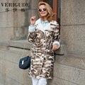 Veri Gude mulheres camuflagem longo da pele do falso sintético brasão inverno casaco de alta qualidade