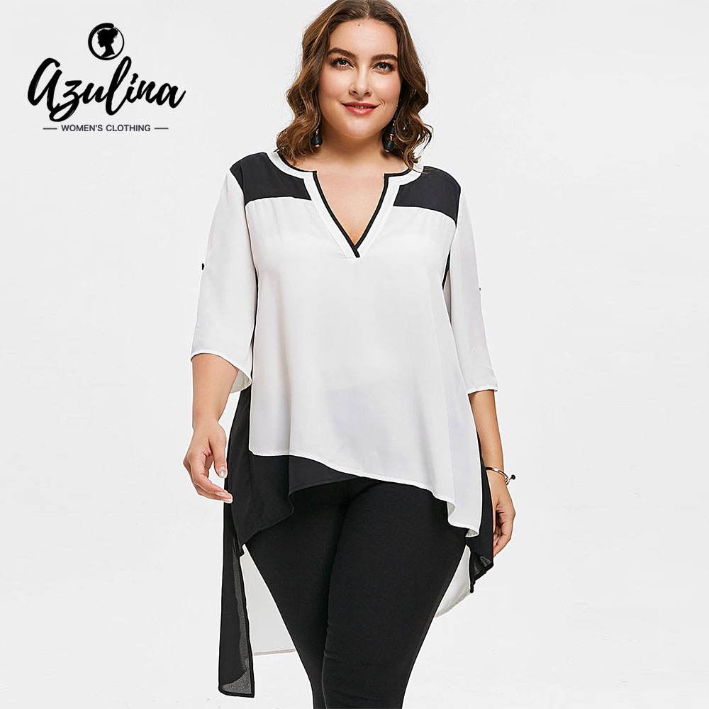 AZULINA Plus Size Two Tone Asymmetric High Low Blouse Women Blouses Shirts V Neck 3/4 Sleeves Long Tops Big Size Clothes Blusas