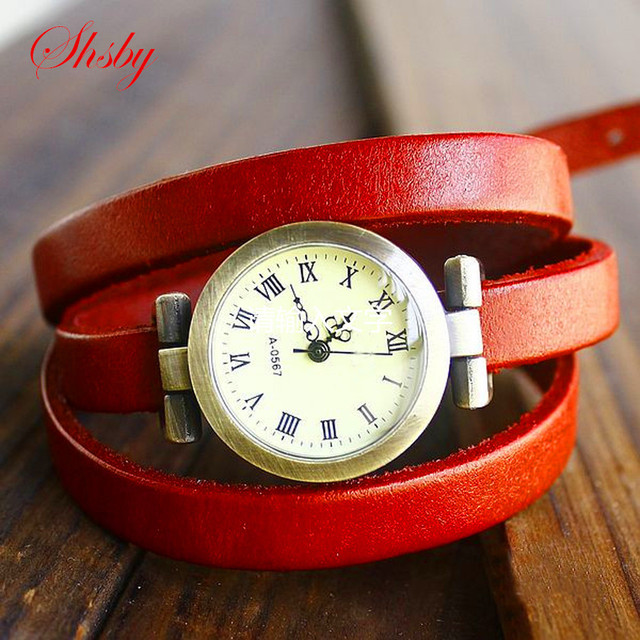 shsby Hot-selling Genuine cow long leather vintage female quartz watch ROMA digi