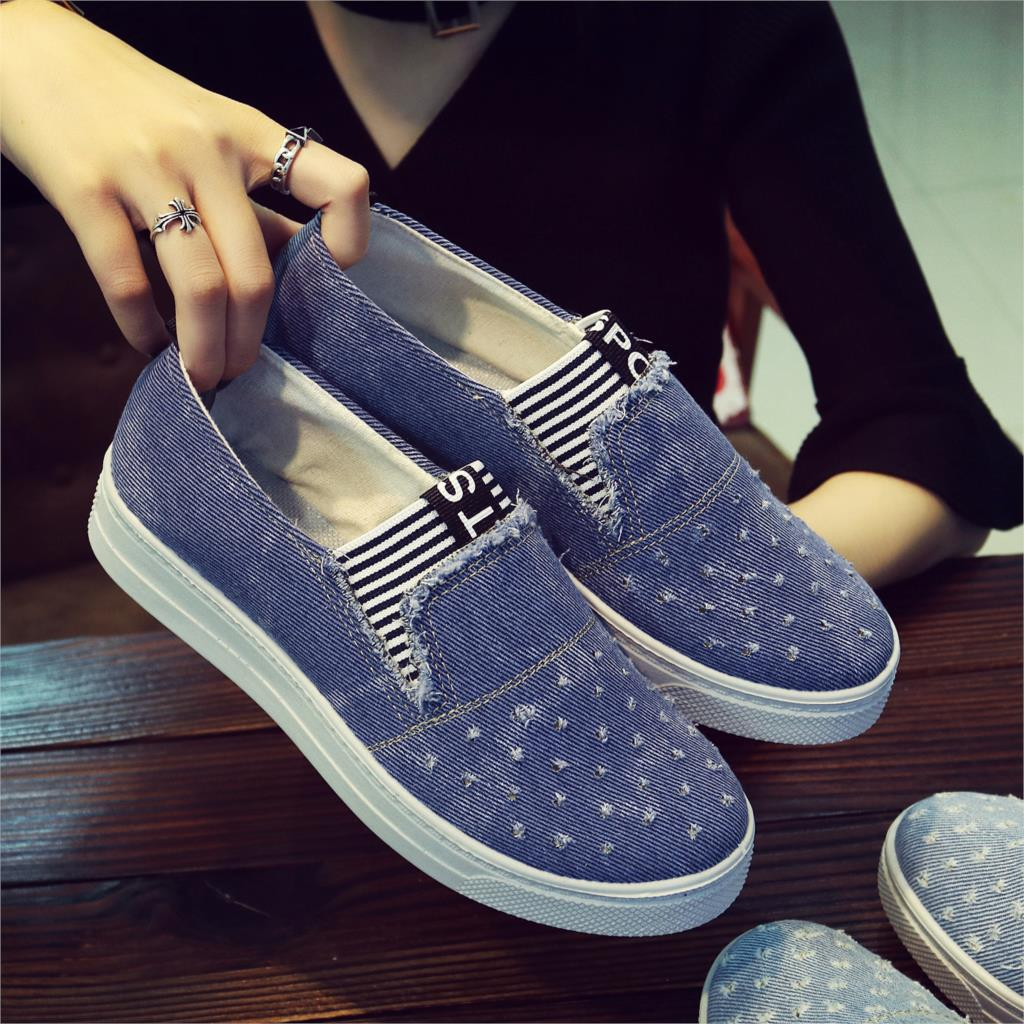 New Flat Shoes Ladies School Canvas Casual Flat Soft And Comfortable Shoes Work Driving Shoes Classical Denim Fabric Lightweight-in Womens Flats from Shoes on AliExpress