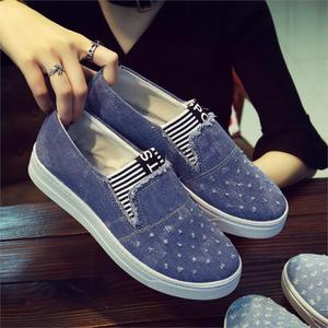 Image 1 - New Flat Shoes Ladies School Canvas Casual Flat Soft And Comfortable Shoes Work Driving Shoes Classical Denim Fabric Lightweight