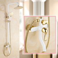 Luxury Golden White Single Handle Swivel Tub Taps Bath Shower Mixer Faucet Shower Complete Set Mixer