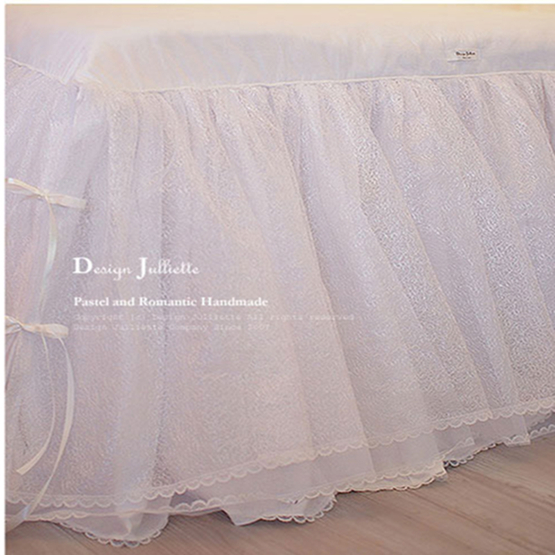 1piece princess bedding luxury fitted sheet sweet lace yarn bed skirt bedroom bedspread quilt padding wedding decorative bedding