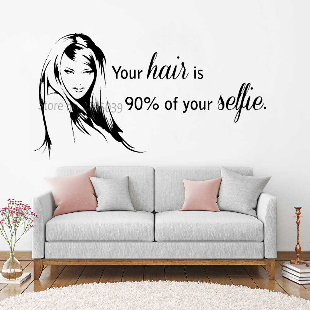 "Mooie Beauty Hair Salon Decal Muur Raam Decor Stickers Art Quote ""Uw Haar Is 90% Van Uw..."" barbershop Muursticker LC881"