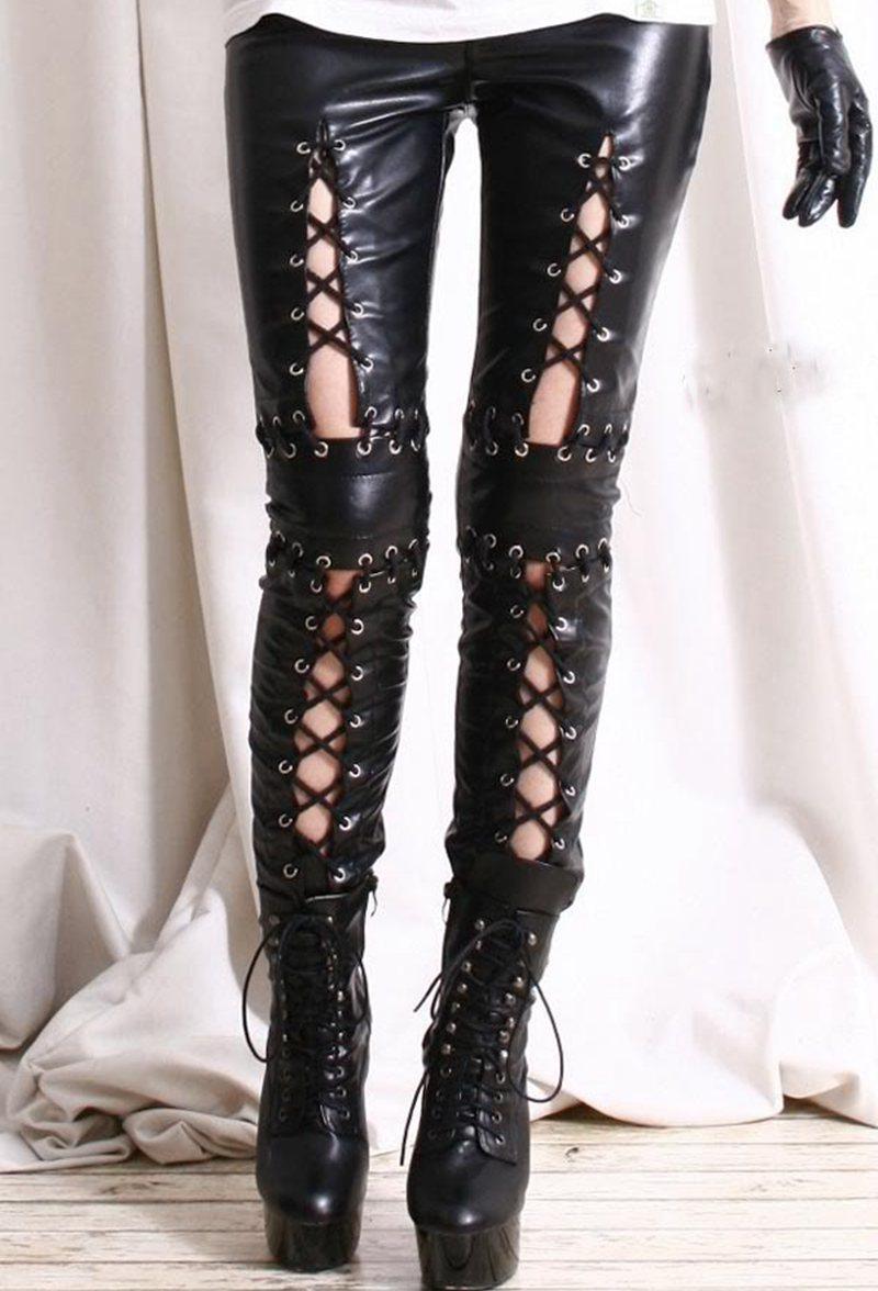 Women Gothic Lace Up Pant Punk Rock Faux Leather Pants -5605
