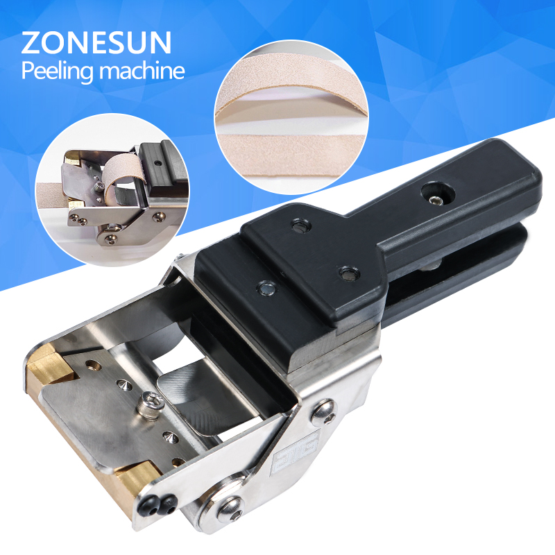 ZONESUN  Free shiping leather paring machine Manual leather skiver Leather splitter with 5pcs double sharping blade zonesun 6 inch manual leather diy skiving machine paring machine leather skiver leather peeler splitter leather cutter
