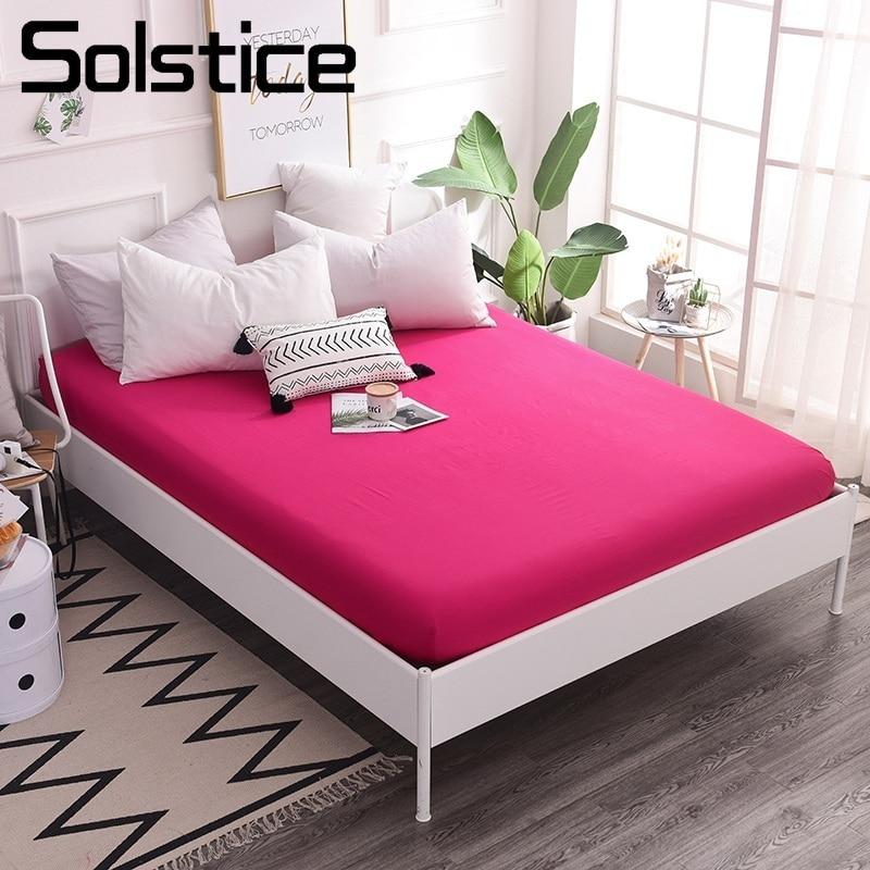 Doeltreffend Solstice Thuis Textiel Eenvoudige Nordic Effen Kleur Rose Rood Roze Bed Hoeslaken 100% Katoen Matrashoes Meisjes Kids Adult Vrouw
