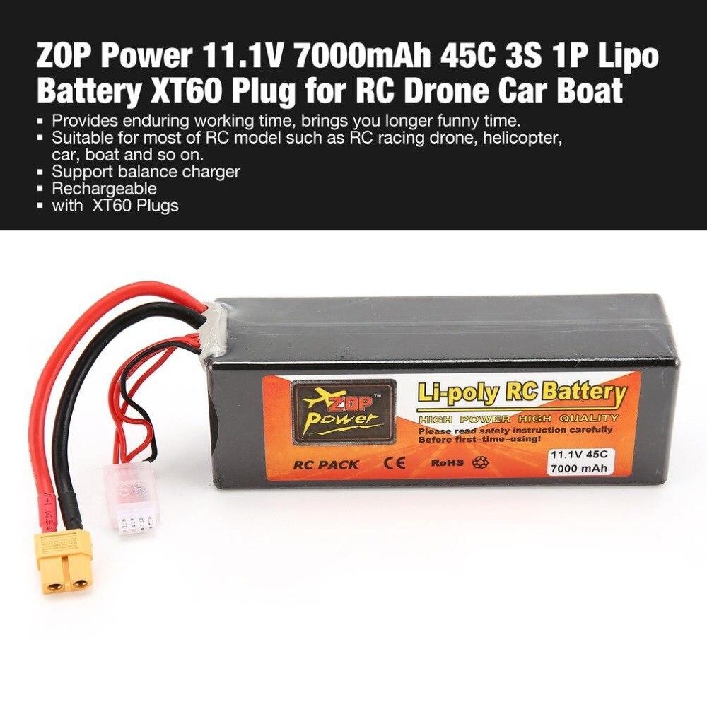 ZOP puissance 11.1 V 7000 mAh 45C 3 S 1 P Lipo batterie XT60 prise Rechargeable pour RC course Drone quadrirotor hélicoptère voiture bateau modèle
