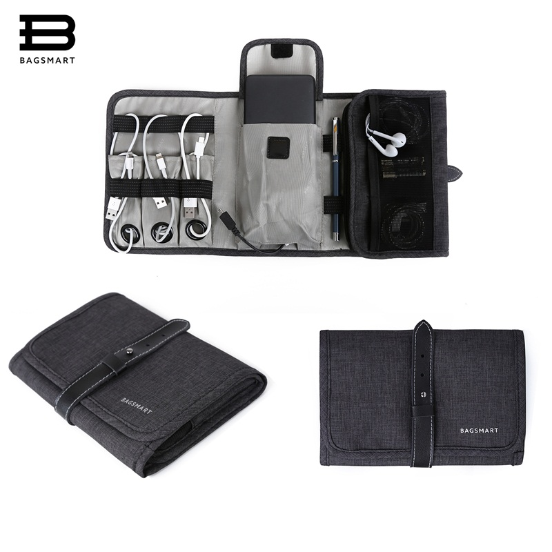 BAGSMART Portable Digital Accessories Gadget Devices Organizer USB Cable Charger Tote Case Storage Bag Travel Organizer