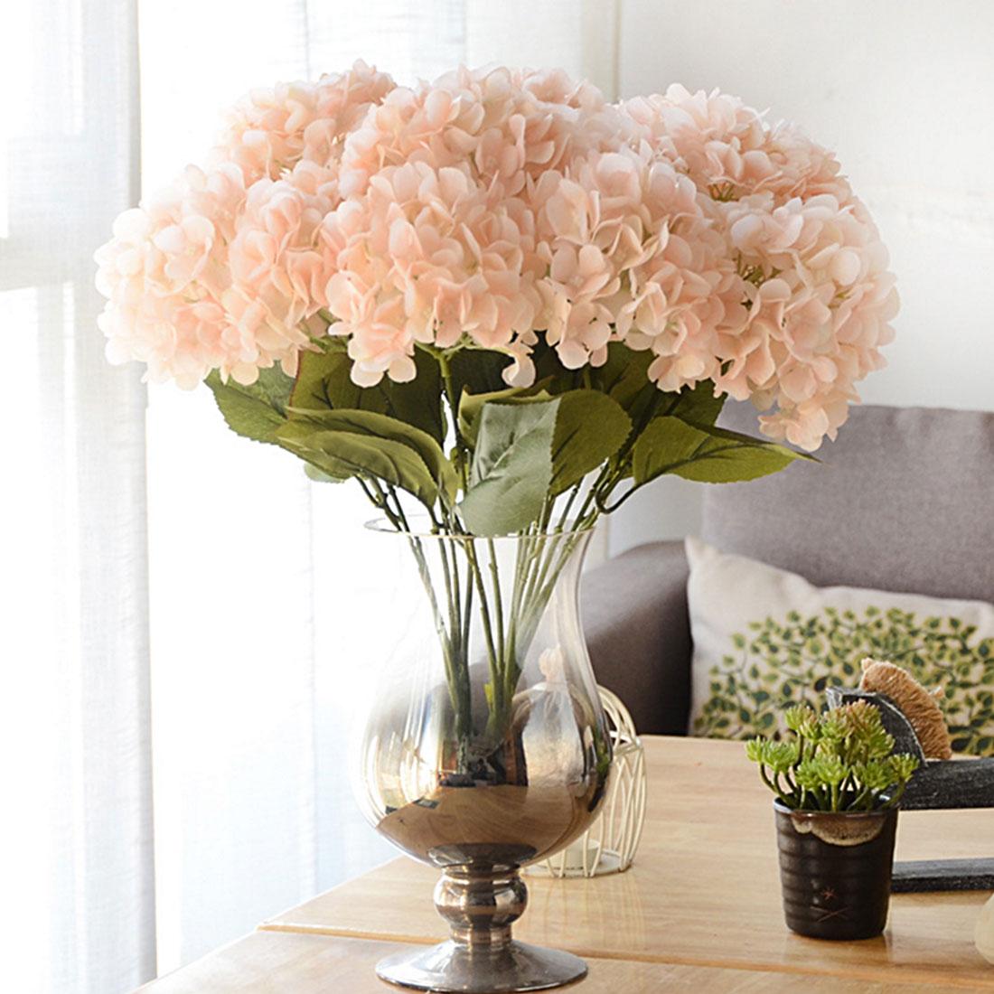 Home Decor Artificial Flower Hydrangea 5 Heads Silk