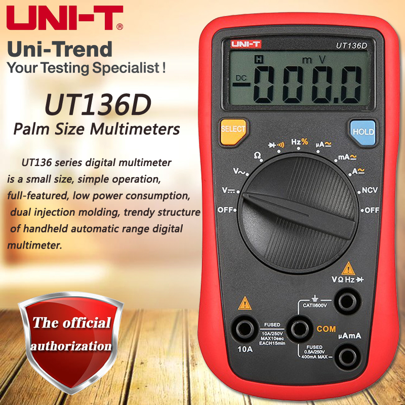 UNI-T UT136D Palm Size Multimeters, Autoranging DMM Resistance / Frequency / Duty Cycle / Diode Test NCV цена