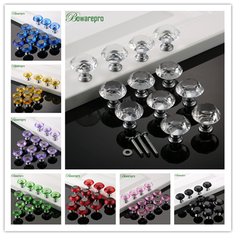 bowarepro Diamond Crystal Glass furniture knob handle accessories hardware furniture door handle accessory 12 knob+36 Screw 30mm bowarepro diamond crystal glass cabinet handle kitchen furniture hardware door handle furniture accessory 30mm 12pc 36pcs screws