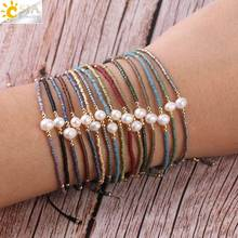 CSJA Pearl Hand Jewelry for Women Metal Color Plated Miyuki Delica 1mm Beads Resizable Summer Chic Bracelet Mix Wholesale S337(China)
