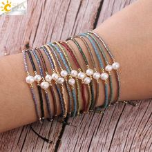 CSJA Summer Miyuki Bracelets for Women 1mm Delica Beads Pearl Hand Jewelry Metal Color Plated Resizable Bracelet Pulseras S337
