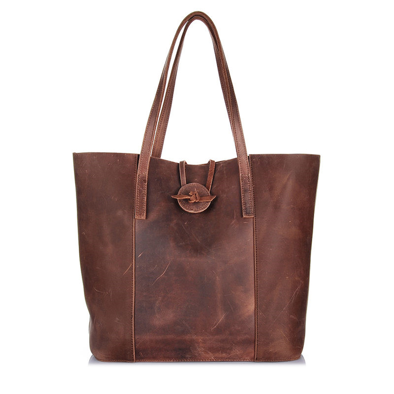Nesituวินเทจสีน้ำตาลหนาทนทานหนังแท้ผู้หญิงกระเป๋าบ้าม้าหนังเลดี้กระเป๋าสะพายผู้หญิงTotes # M006-ใน กระเป๋าสะพายไหล่ จาก สัมภาระและกระเป๋า บน   1