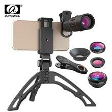 APEXEL 18X טלסקופ טלפון עדשת משקפת + 3in1 Fisheye רחב מאקרו עדשה + Selfie חצובה עם Bluetooth עבור iPhone טלפונים חכמים