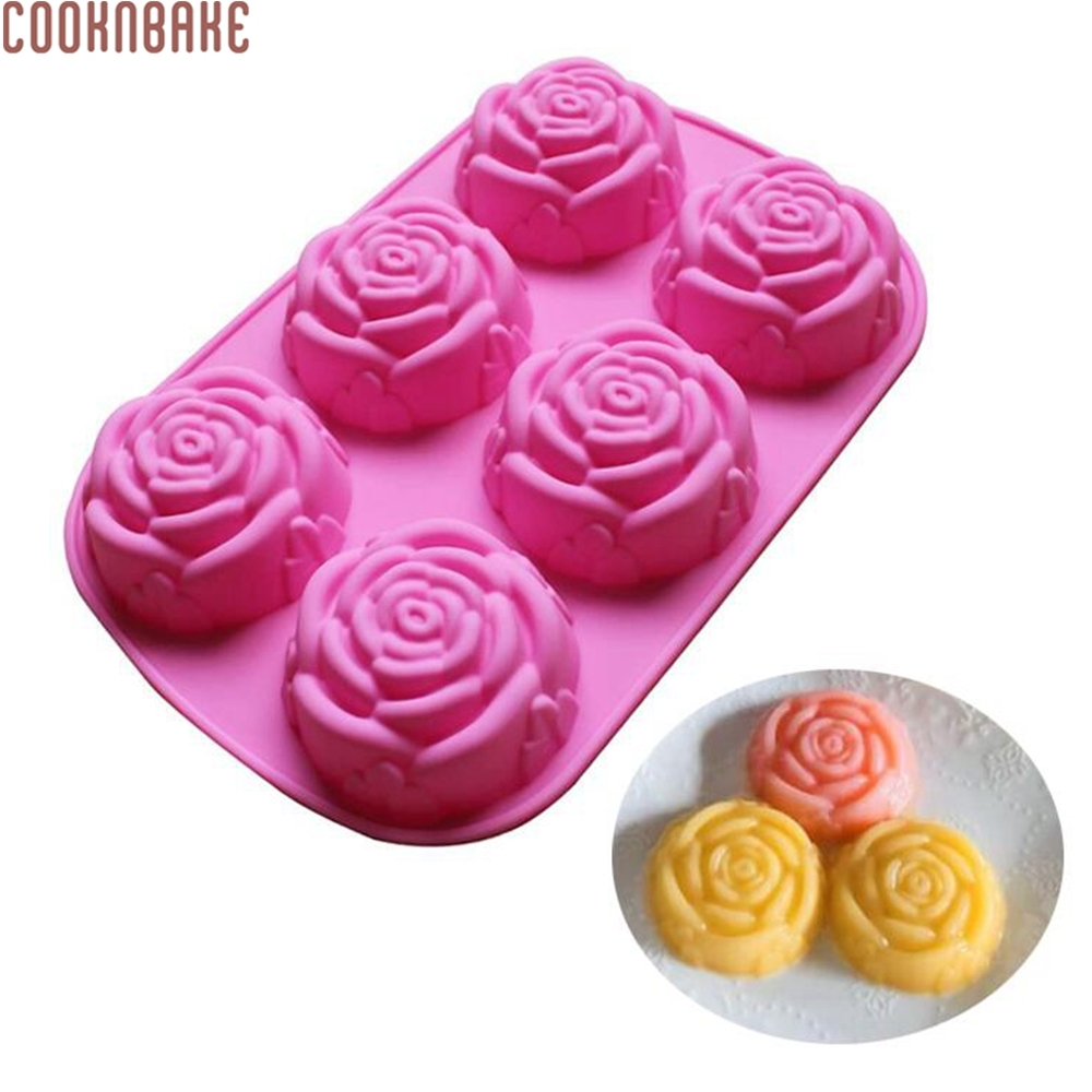 COOKNBAKE DIY Silikonform 6 Lattices Rose Cake Pudding Mögel Tvål Mold SSCM-001-25