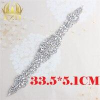 1 Piece Wedding Accessories Rhinestone Appliques Decoration Clear Crystal Applique Sew Iron On Belt Pearls Rhinestones