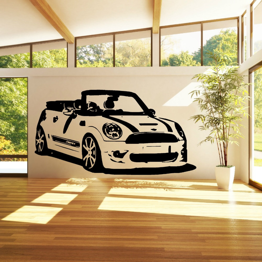 Fashion Car Wall Sticker MINI COOPER CONVERTABLE Vinyl Wall Art car ...