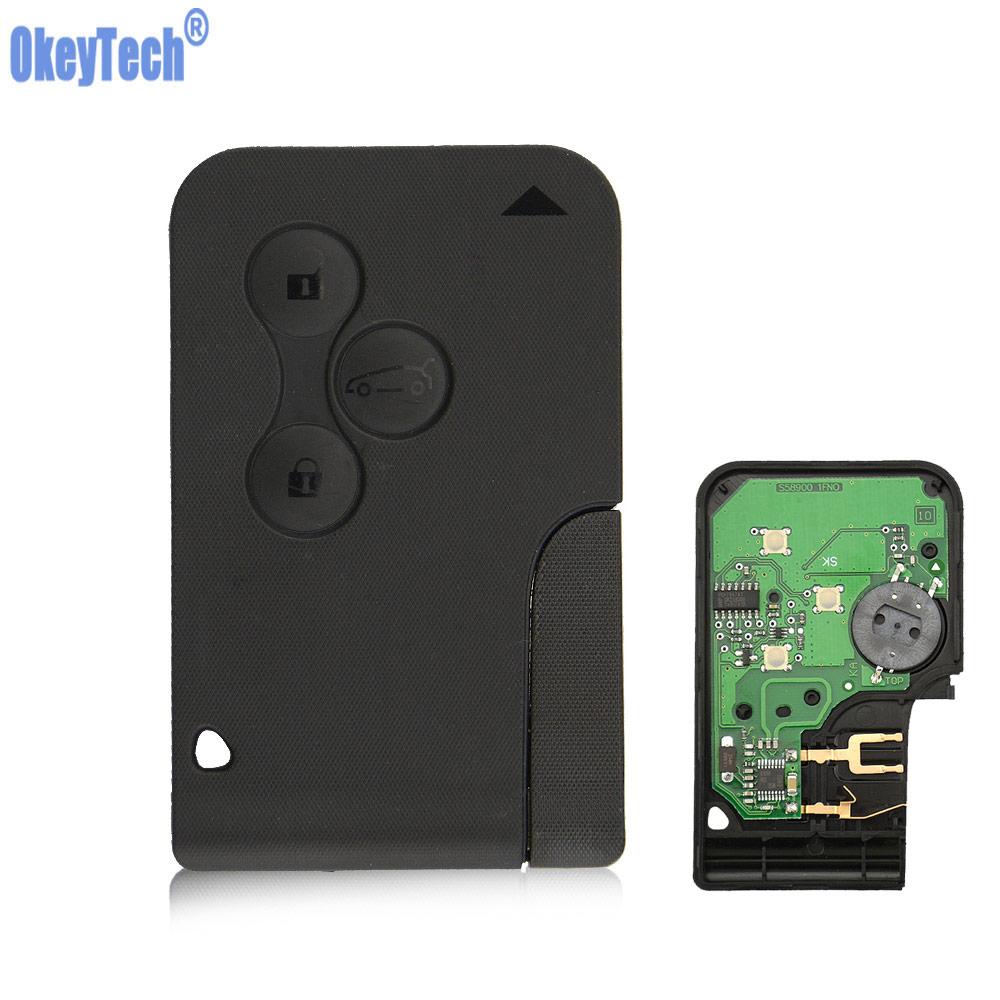Okeytech 3 botões 433 mhz id46 pcf7926 pcf7947 chip de emergência inteligente chave do carro remoto para renault megane chave 2 cénico cartão ii grande