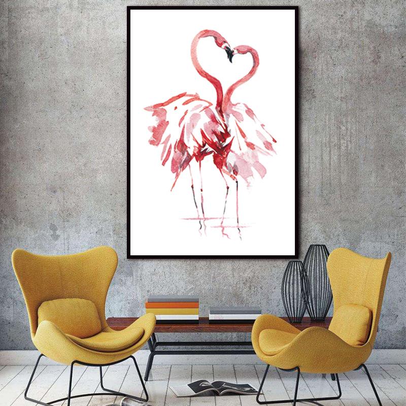 acuarela flamingo canvas art print poster pintura imgenes de pared para la decoracin del hogar