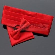 """Ikepeibao классический красный детский смокинг официальный пояс наборы с эластичный ошейник с """"бабочкой"""" и Hankie створки широкий церемониальный пояс регулируемый"""