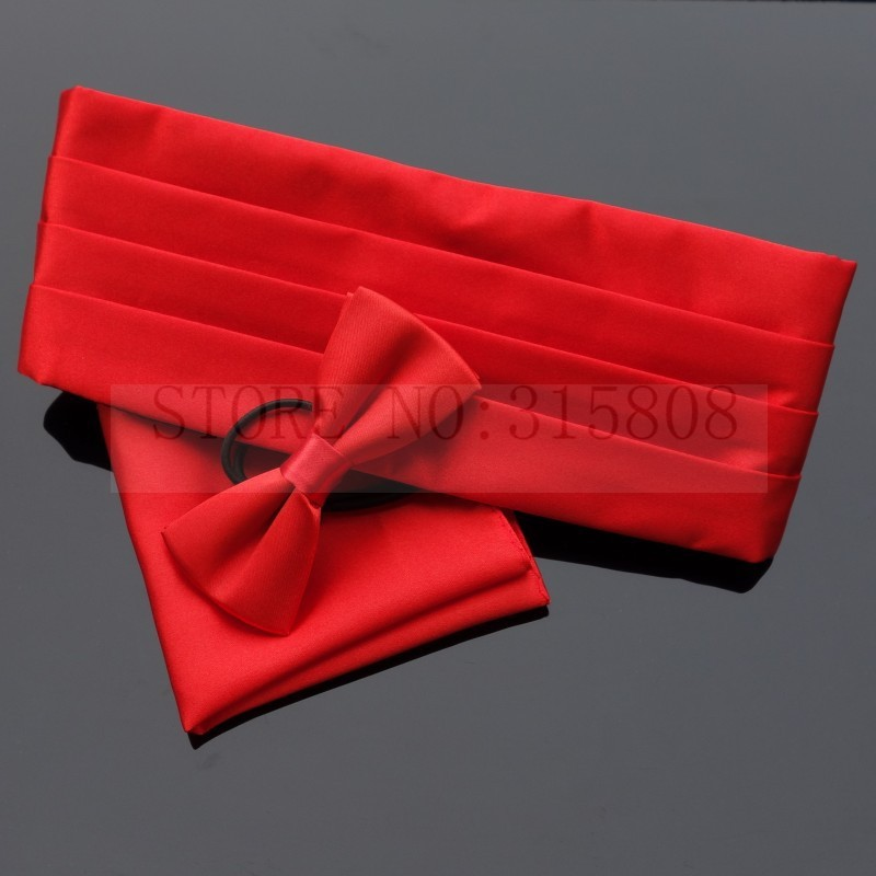 Ikepeibao Classic Red Kids Tuxedo Formal Cummerbund Sets With Elastic Bowtie And Hankie Sash Wide Ceremonial Belt Adjustable