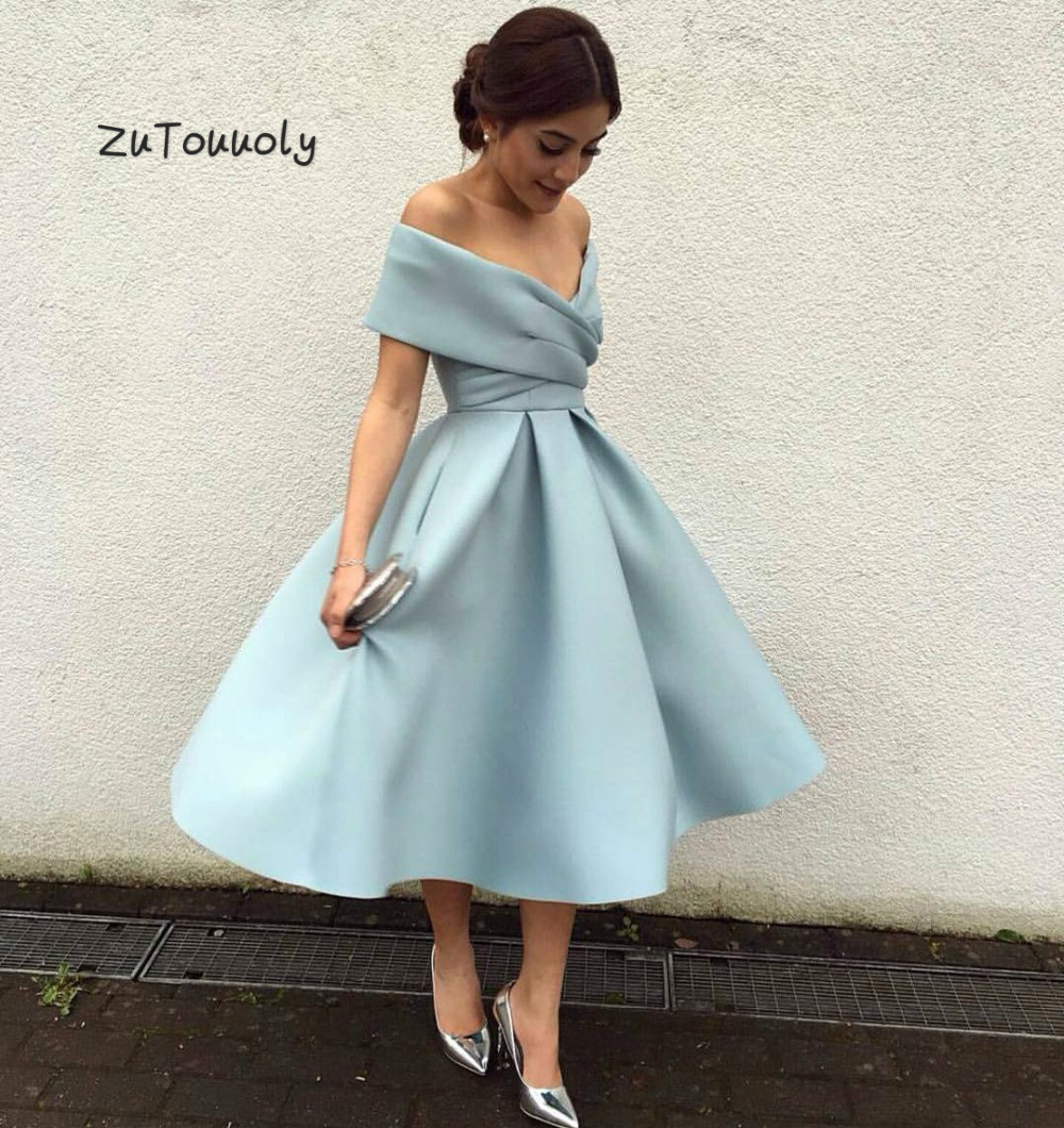 Baby Blue Short Evening Dresses Off Shoulder Pleat Midi Evening Gowns For Women Fitted Cheap Tea Length Prom Dress Evening Wear