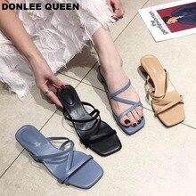DONLEE QUEEN Women Low Heel Slippers Summer Rome Style Peep Toe Beach Slipper Fashion Narrow Band Sandal Slip On Flip Flops Shoe