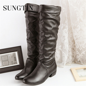 Image 5 - Sungtin 2019 Hot Sale Women PU Leather Knee High Boots Fashion Classic Flat Boots Ladies Autumn Winter Shoes Basic Long Boots