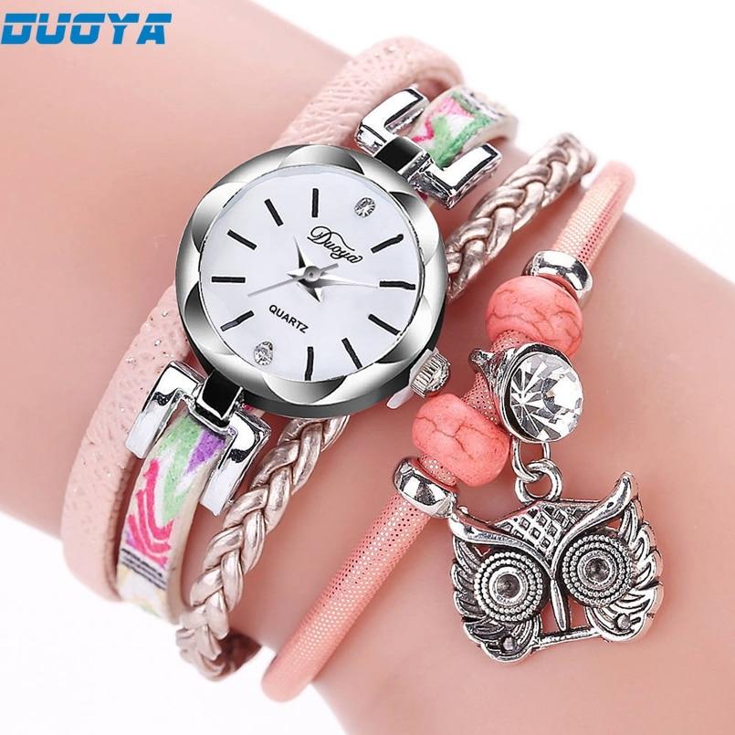 Duoya Brand Watch Women Luxury Gold Gemstone Dress Watches Women Gold Bracelet Watch Female Leather Quartz Wristwatches s45