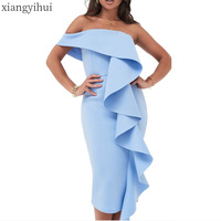 Sexy Club Summer Strapless Ruffled Party Dress White Blue Fashion Off the Shoulder Bodycon Pencil Midi Dress Vestidos for Lady