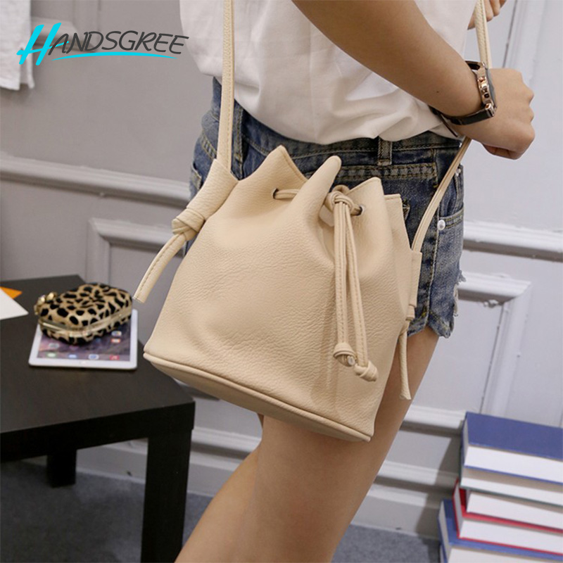 2017 Fashion Women Bucket Bag Candy Color Women Shoulder Bags Hight Quality PU Leather Crossbody Bags Female Handbags
