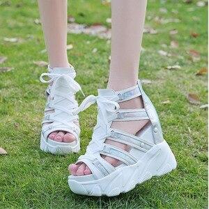Image 4 - הו תרומה קומפורטי נעלי נשים מאפין תחתון טריזי עקבים קיץ נעלי נשי לנשימה סנדלי נשים אופנה פלטפורמת סנדלים