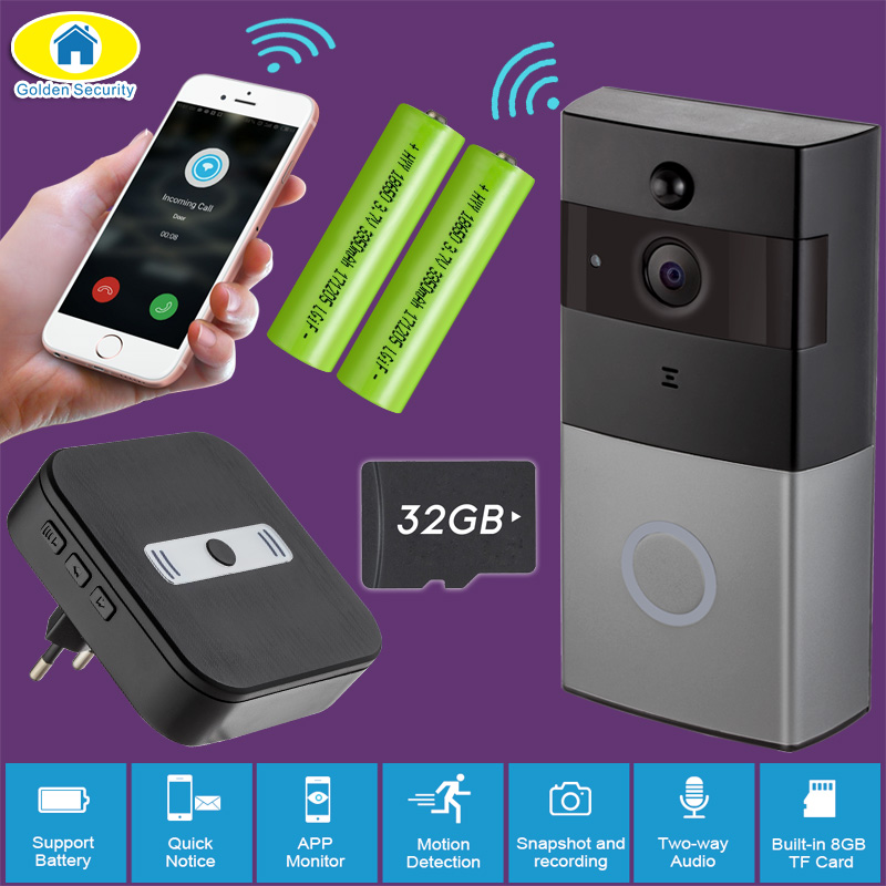 Здесь можно купить  Golden Security WiFi Door Bell Video Intercom Doorbell 720P HD Alarm Security Camera Night Version Wireless Waterproof Doorbell  Безопасность и защита