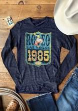 Camiseta de manga larga para mujer, remera de moda para mujer, playera informal de Rodeo Las Vegas 1985 estampado con letras USA 2018