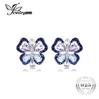 JewelryPalace 4.8ct Autentica Ametista Cielo Topazio Azzurro Farfalla Orecchini di Clip 925 Sterling Silver Gioielli Nuovo Arrivo