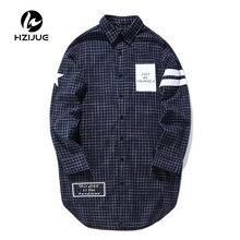 Синяя Клетчатая длинная хип-хоп рубашка для мужчин, весна, высокое качество, с принтом Just be Yourself, удлиненная Мужская рубашка, хипстерские рубашки из хлопка