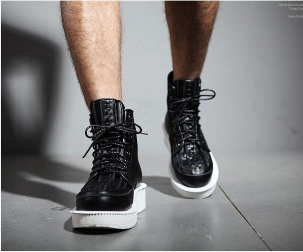 New Arrival Heavy-Bottomed High-Top Men Casual Shoes Genuine Leather Autumn Mid-Calf Round Toe Lace-Up Martin Boots 38/44 S2426 new women shoes fashion genuine leather spring autumn casual shoes lace up loafers shoes heavy bottomed platform white shoes