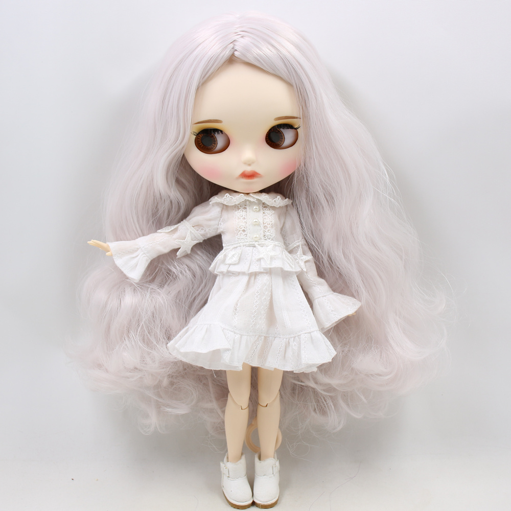 ICY Nude Blyth Doll For No BL1003 1327 Grey pink hair Carved lips Matte face with