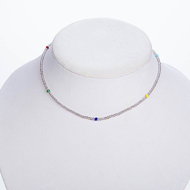 Youga 2018 Fashion Hot Selling Crystal Necklace Grey Crystal and Colored Crystal Handmade Choker Gift for Beach Party Girl in Choker Necklaces from Jewelry Accessories