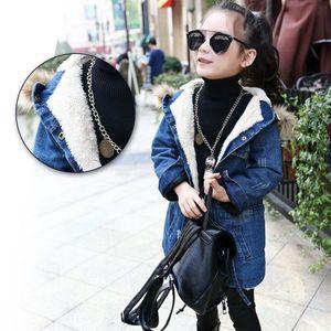 Image 2 - 2020 New winter Kids girls denim jacket children plus thick velvet jacket big virgin long warm coat for cold winter