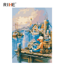 RIHE Boy Pier Diy Painting By Numbers Town Oil On Canvas Hand Painted Sea Boat Cuadros Decoracion Acrylic Paint Art